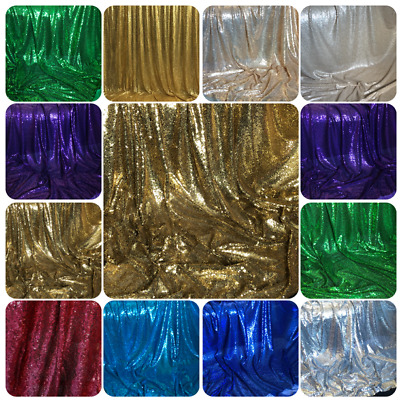 Sparkly Sequin Fabric Bridal Wedding Costume Strech Backdrop Tulle Net 58  Wide  • 0.99£