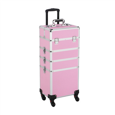 Aluminum Large Cosmetic Trolley Professional Rolling Case Makeup Artist Lockable • 73.99$