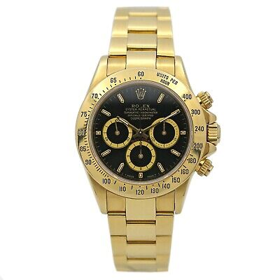 $28995 • Buy Men's Rolex Daytona Zenith Movement 18k Yellow Gold W/ Black Dial 16528