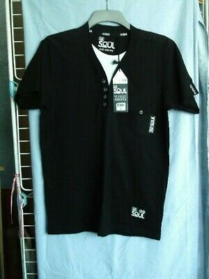 BNWT Mens / Boys Medium Sized  55 Soul  Design  Short Sleeved Black Tee Shirt. • 3£