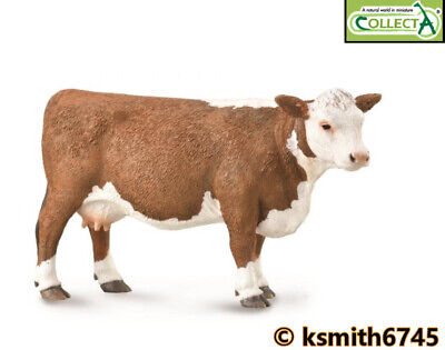 £6.65 • Buy CollectA HEREFORD COW Solid Plastic Toy Farm Pet Animal Brown & White * NEW 💥