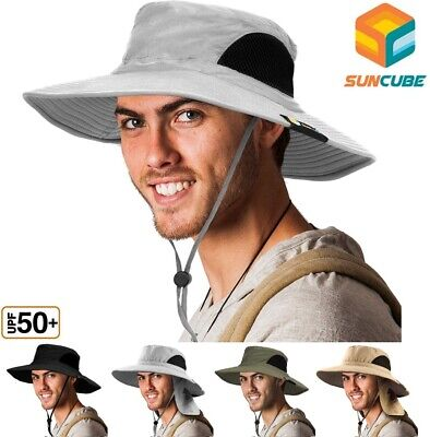 $13.99 • Buy Bonnie Hat For Men Wide Brim Sun Protection Outdoor Hiking Fishing 50+UPF Bucket