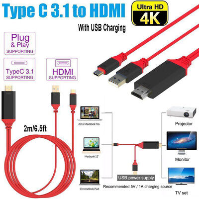 AU20.99 • Buy USB C To HDMI Cable USB Type C To HDMI 4K Cord For Samsung S8 S9 S10 + Note 8 9