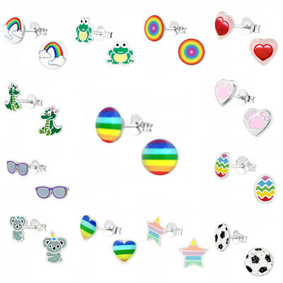 £4.95 • Buy 925 Sterling Silver Earrings Studs Unicorn Rainbow Frog Heart Star Round Cat Dog