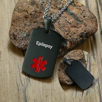 Epilepsy Epileptic Medical Alert Necklace Stainless Steel Chain Curb Dog Tag • 9.99£