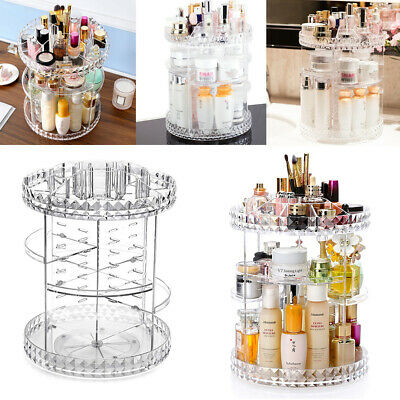 Swiveling Makeup Organiser Clear Adjustable Cosmetic Perfumes Display Stand Box • 9.95£