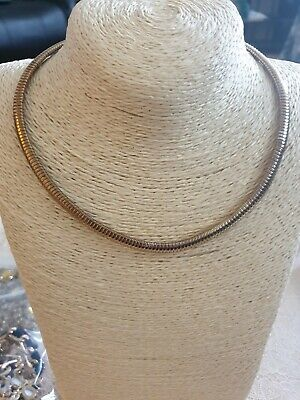 Fashion Jewellery Necklace Gold Tone Flat Snake Chain Style  • 2£