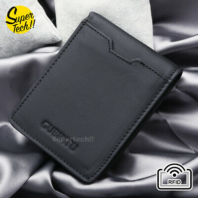 AU13.99 • Buy Bifold Credit Card Holder Genuine Leather Wallet Slim Mens RFID Blocking Purse