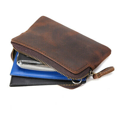 $13.90 • Buy Leather Small Change Pocket Zip Pouch Credit Card Holder Coin Purse Mini Wallet