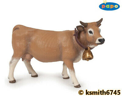 £7.65 • Buy Papo ALLGAU COW With BELL Solid Plastic Toy Farm Pet Brown Animal NEW 💥