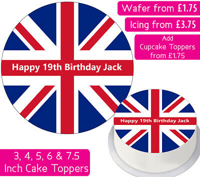 £3.75 • Buy Union Jack Flag Edible Wafer & Icing Personalised Cake Toppers Decoration Party