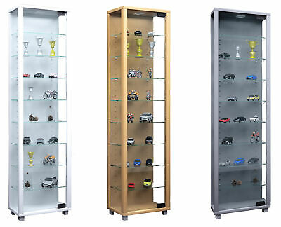 Narrow Glass Display Cabinet Slim Floor Standing Toys Vapes With 8 Glass Shelves • 1,234£