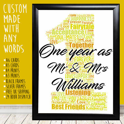 Personalised One Year Anniversary Special Romantic Gift For Him Her 1st 5th 10th • 9.99£