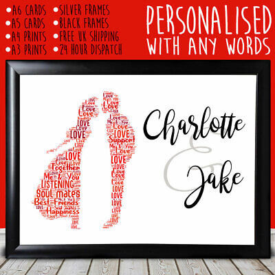 Personalised Kissing Cute Anniversary Special Romantic Gift For Him Her 1st 10th • 5.99£