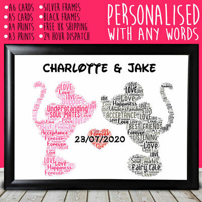 Personalised Mickey And Minnie Anniversary Special Gift For Him Her 10th 20th • 9.99£