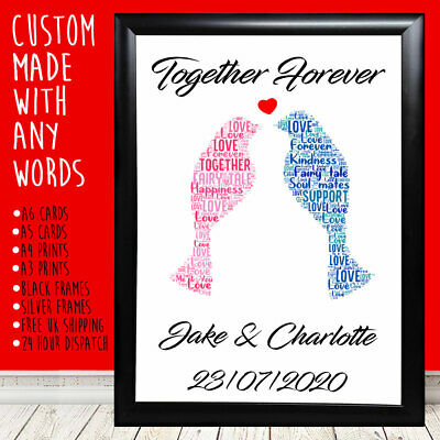 Personalised Love Birds Anniversary Special Gift For Him Her 1st 5th 10th 20th • 4.49£