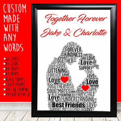 Personalised Couple Together Anniversary Special Gift For Him Her 1st 5th 10th • 4.49£