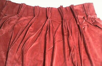£29.95 • Buy Pair Of Montgomery Pinch Pleat Lined Velour Curtains Red 2x 240cm X 150cm #2E798