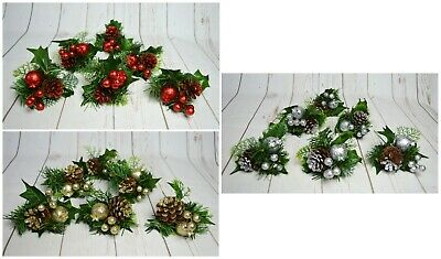 Christmas Glitter Foliage Picks X 6PCS Displays Wreaths Garlands Tree • 9.99£
