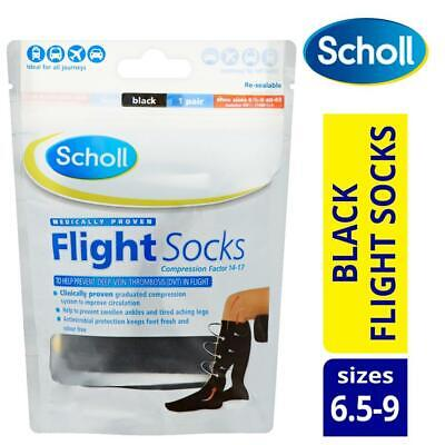 Scholl Compression Flight Socks Black Machine Washable 1 Pair Shoe Sizes 6.5 - 9 • 14.99£