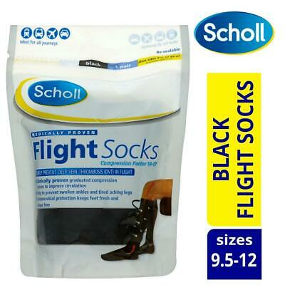 Scholl Compression Flight Socks Black Machine Washable 1 Pair Shoe Sizes 9.5-12 • 14.99£