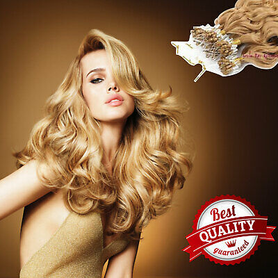 100S Russian Remy Beauty Human Hair Extensions Micro Loop Premium Natural UK • 39.98£