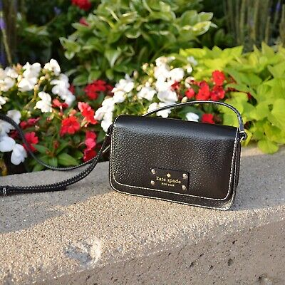 $ CDN70.95 • Buy Kate Spade Wellesley Black Leather Small Fynn CrossBody Purse