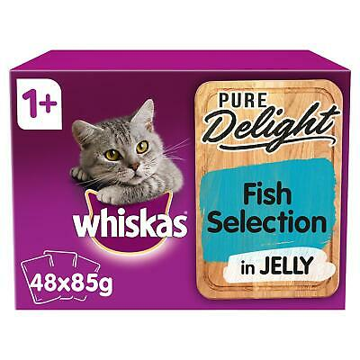 48 X 85g Whiskas Pure Delight 1+ Adult Wet Cat Food Pouches Mixed Fish In Jelly • 14.72£