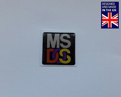 MS-DOS 25 X 25mm 1  Domed PC Case Badge Logo Decal DOSBox FreeDOS Microsoft • 3.75£
