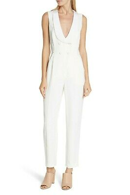 $199 • Buy A.L.C. Everett Women's Double Breasted Tuxedo Collar Jumpsuit In Eggshell Size 6