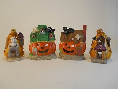 $ CDN12.58 • Buy Lot Of 4 Ceramic Halloween Decorations With Room For A Tea Light