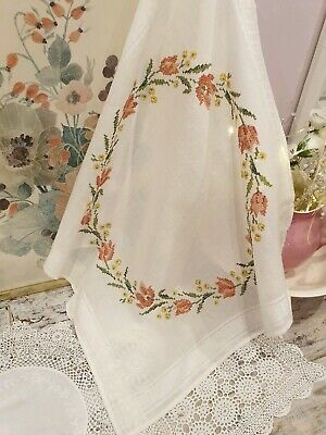 Vintage French Table Cloth With Embroidered Cross Stitch Detail  - 75cm By 75cm • 12£