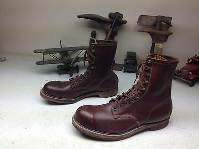 £1099.46 • Buy Vintage Mid-century Steel Toe Distressed Brown Leather Motorcycle Boots 11e