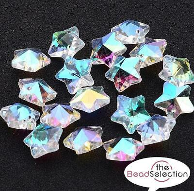 £2.59 • Buy 10 PENDANT STAR FACETED GLASS CRYSTAL BEADS 13mm XMAS RAINBOW AB LUSTRE GLS14
