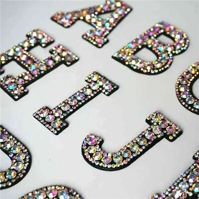 £1.49 • Buy Rhinestone Iron /Sew On Sparkle Letter Patch Patches Alphabet Embroidery Clothes