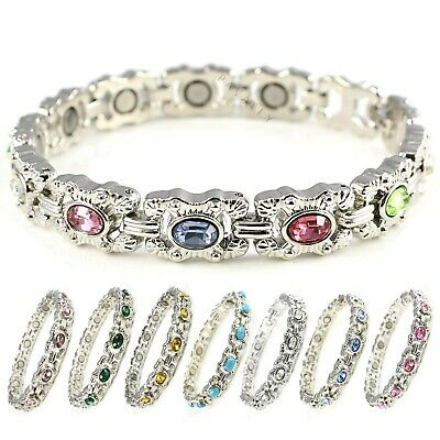 WOMENS MAGNETIC BRACELET 11 MAGNETS Carpal Tunnel Arthritis Ladies Silver Stone • 9.99£