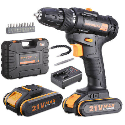 View Details 21-Volt Drill 2 Speed Electric Cordless Drill/Driver With Bits Set & 2 Batteries • 69.99$