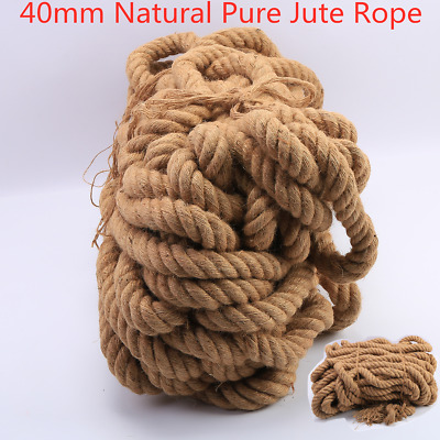 Natural Jute Hessian Rope Twine Braided Twisted Decking Garden Boat 40mm Thick • 30.94£