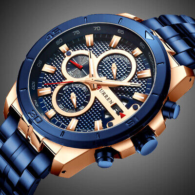 AU32.99 • Buy Men's Luxury Watches Chronograph Date Stainless Steel Band Quartz Business Watch