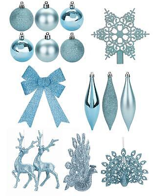 Ice Blue Christmas Tree Ornaments Baubles Tree Topper Bow Hanging Decoration • 4.29£