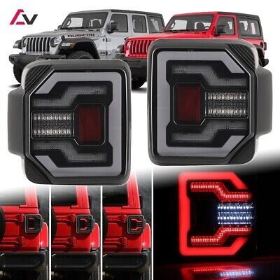 2018+ Jeep Wrangler JL JLU Sport Rubicon DRL LED Sequential Tail Lights Smoke • 285.19$