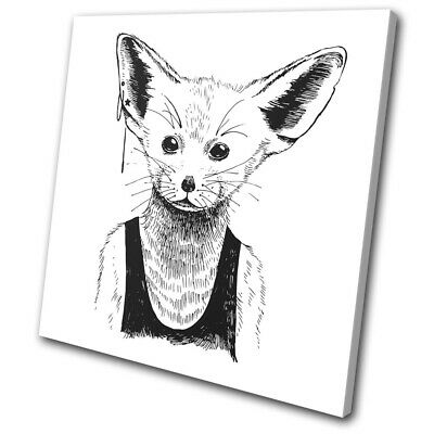 Hipster Animals Fennec Fox Vintage SINGLE CANVAS WALL ART Picture Print • 19.99£