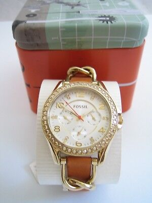 View Details Fossil Womens Riley Watch Es3723 Stainless Steel Gold Crystals Leather Bnib • 49.99£