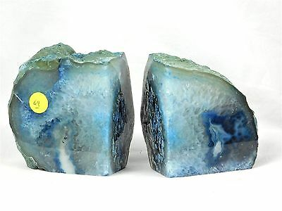 AB69) Blue Agate Quartz Crystal Bookends - Great House Office Gift / Home Decor  • 39.95£