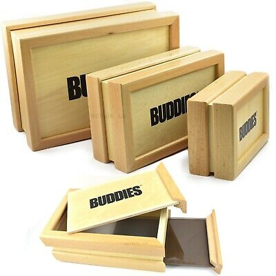 BUDDIES WOODEN SIFTER BOX Sift Stash Box Pollen Collector Pollinator Magnetic • 23.95£