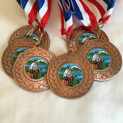 £8.25 • Buy 6 Fishing Medals & Ribbons, Bronze Fishing Medals, Trophy, Award, Fishing Centre