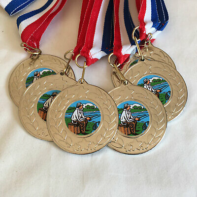 £8.25 • Buy 6 Fishing Medals & Ribbons, Silver Fishing Medals, Trophy, Award, Fishing Centre