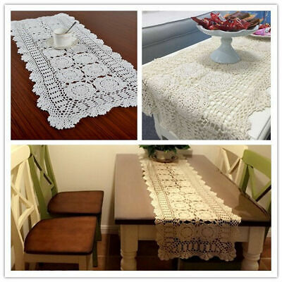 Vintage Handmade Crochet Lace Table Runner Mats Doily Wedding Party Dining Decor • 7.40£