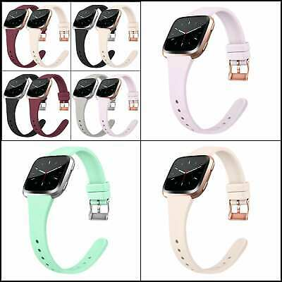 $ CDN14.64 • Buy Silicone Thin Bands For Fitbit Versa 2/Versa/ Lite/ SE, Wristbands Metal Buckle