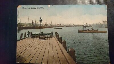 Belfast, Donegall Quay With Boats Moored. Old Postcard, Unposted. • 1.50£